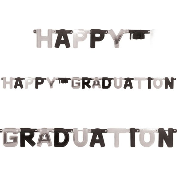 Black & Silver Happy Graduation Foil Letter Banners