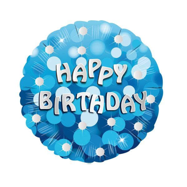 Blue Sparkle Party Happy Birthday Standard Foil