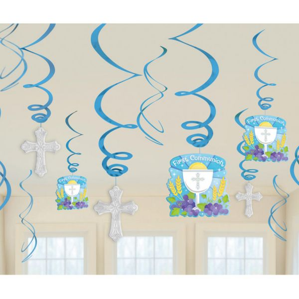 Communion Blue Swirls Decorations Pack