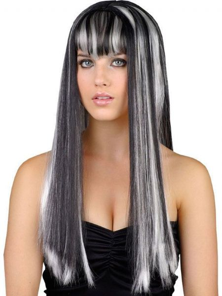 Headbanger Adult Long Frosted Black Wig with Bangs