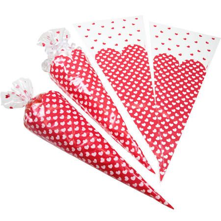 Dotted Hearts Cellophane Gift Bags with Ties