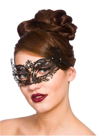 Filigree Eye Mask - Black  with Diamantes