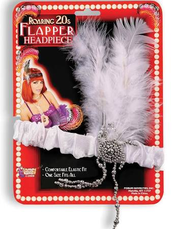 Flapper Headband & White Feathers