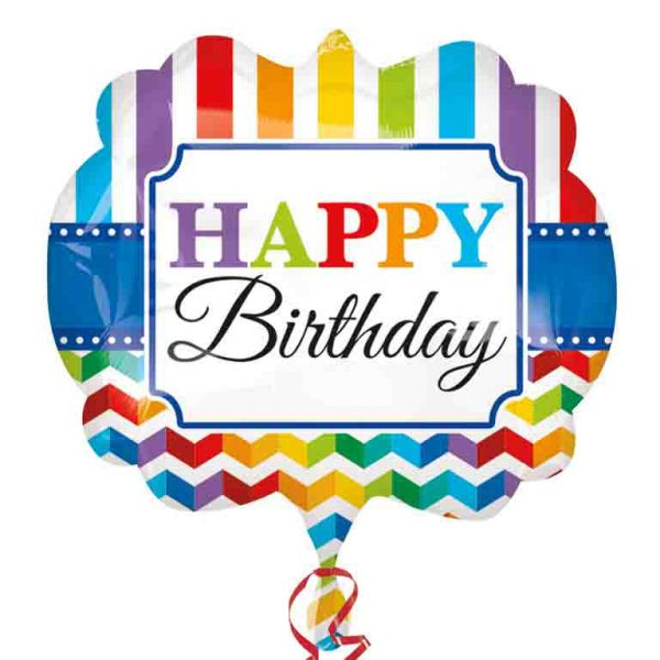 Happy Birthday Stripe & Chevron SuperShape Foil Balloon