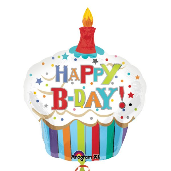 Happy Birthday Striped Cupcake SuperShape™