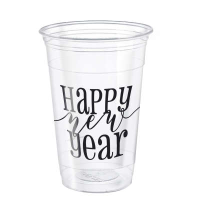 Happy New Year Clear 16oz Plastic Party Cups