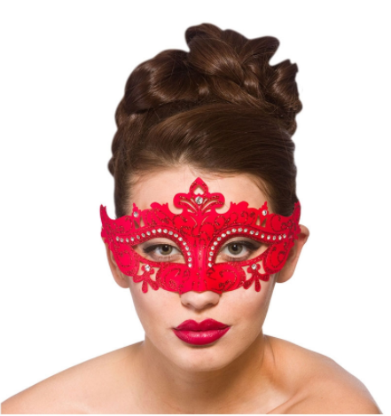 Masquerade Demonte Eye Mask - Red