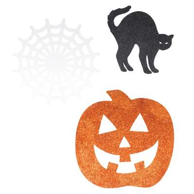 Mini Halloween Glitter Cut Outs 6ct