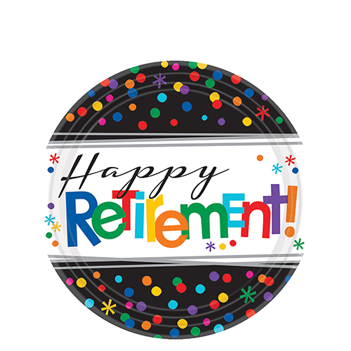 Officially Retired - Happy Retirement Paper Plates 17cm (8pk)