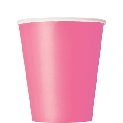 Paper Cups 270ml -Hot Pink (16 pack )