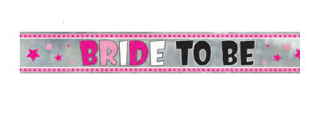 Pink Stars Bride To Be Foil Banner