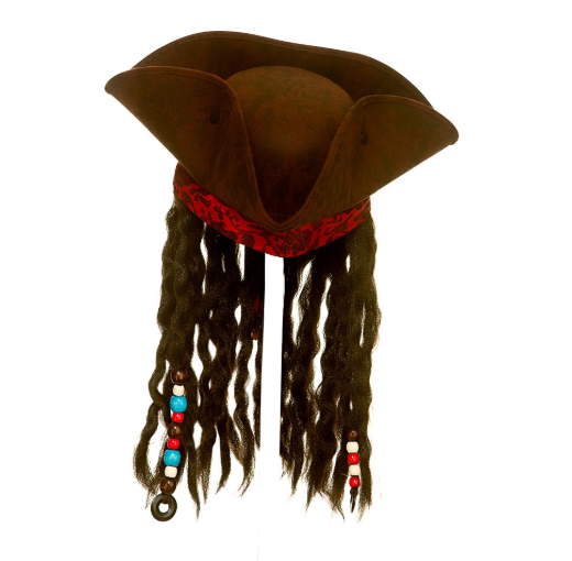 Pirate Deluxe Hat with Braids & Beads