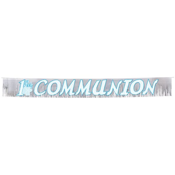 Radiant Cross Blue Glitter Fringed Banner