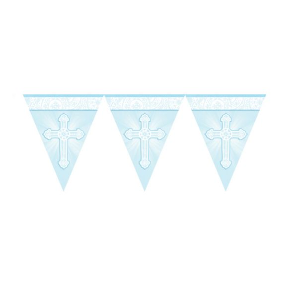 Radiant Cross Blue Pennant Banner