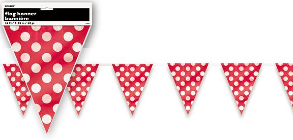 Red Polka Dot Flag Pennant Bunting