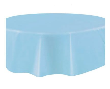 Round Plastic Tablecover Baby Blue