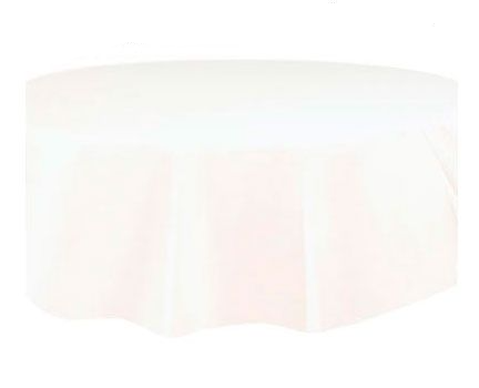 Round Plastic Tablecover Bright White