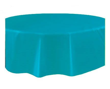 Round Plastic Tablecover Caribbean Teal