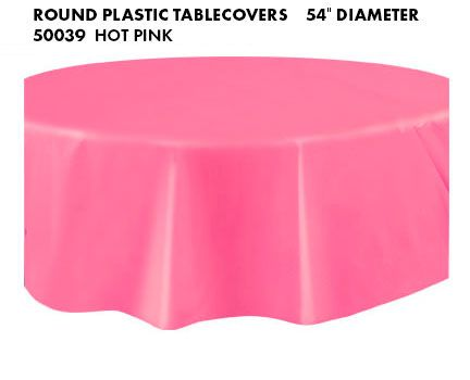 Round Plastic Tablecover Hot Pink