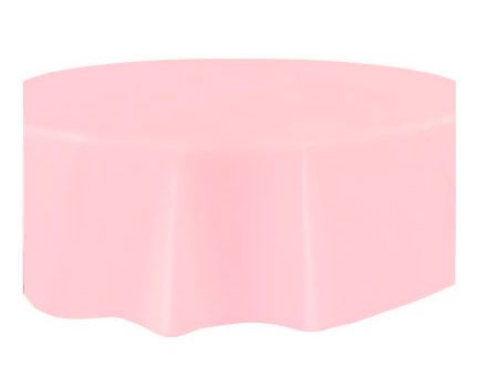 Round Plastic Tablecover Pastel Pink