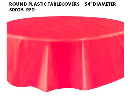 Round Plastic Tablecover Ruby Red