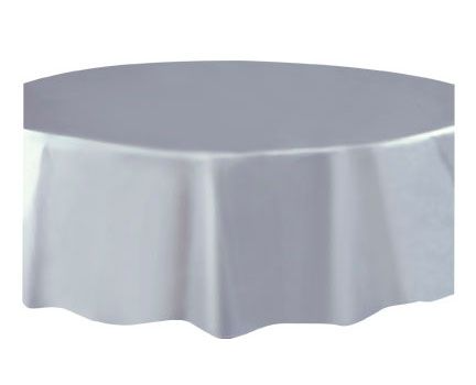 Round Plastic Tablecover Silver