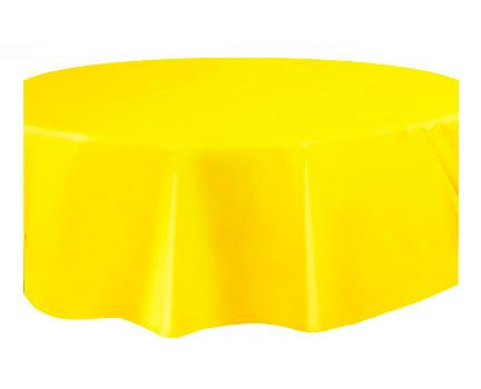 Round Plastic Tablecover Sunflower Yellow