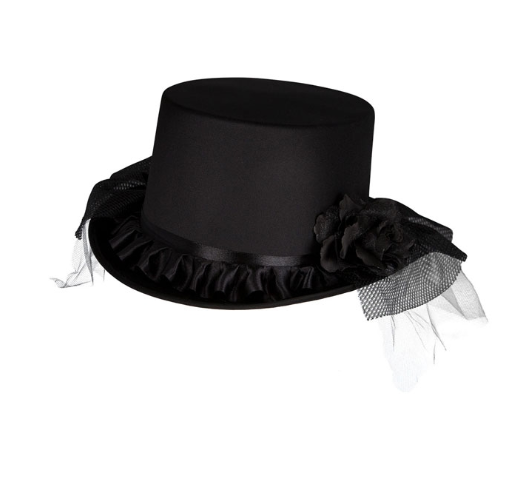 Satin Top Hat with Veil & Flowers