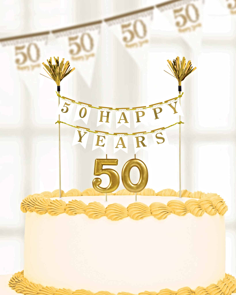 Amscan 50th Golden Sparkling Anniversary Cake Decorations Candles