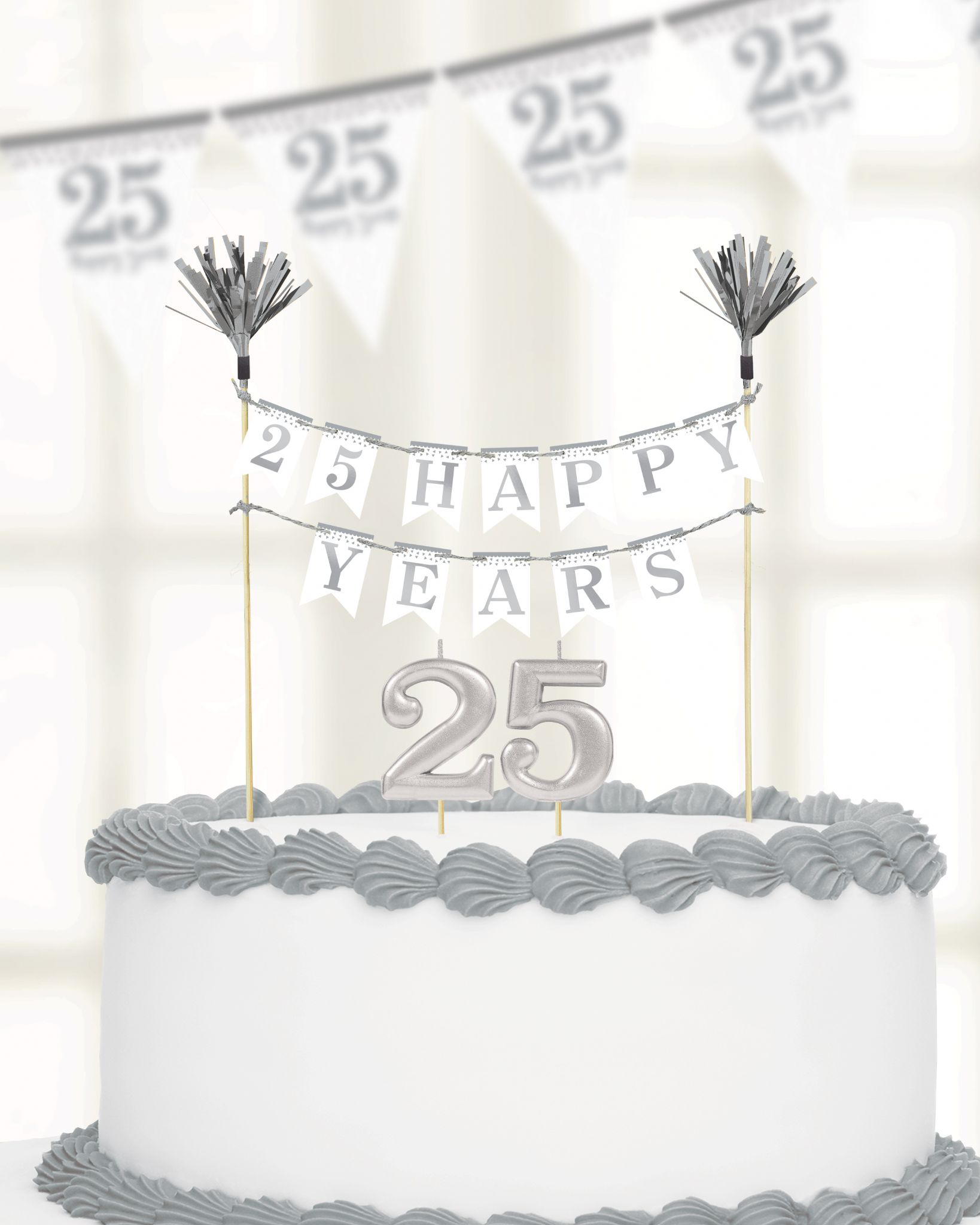 Pleasing Sparkling Silver Anniversary Cake Decoration Candles Funny Birthday Cards Online Aboleapandamsfinfo