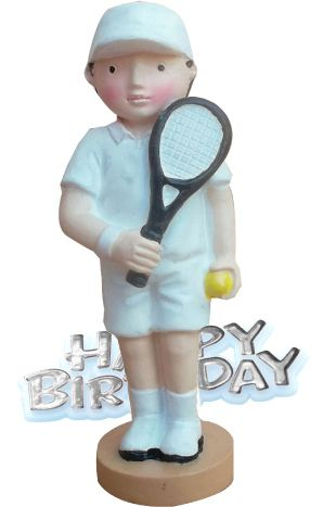 Tennis Player & Motto Cake Topper