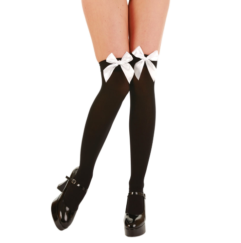 Thigh High Tights with Bow - Black