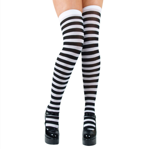Thigh Highs - Black & White Candystrips