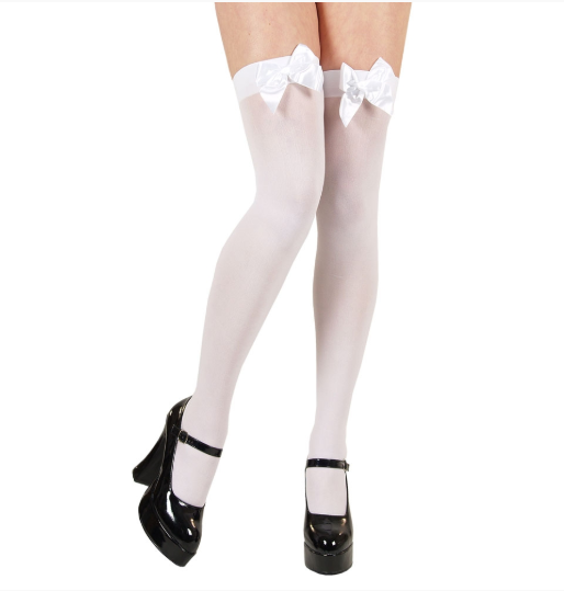 Thigh Highs with Bow - White